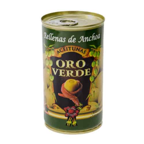 oro verde grüne oliven mit sardellenpaste 150g dose front