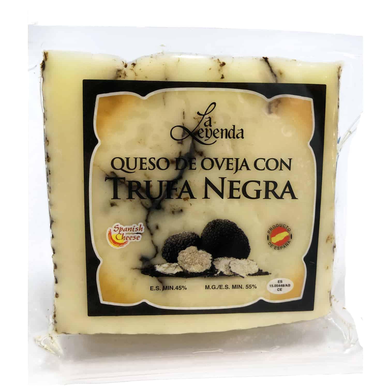 queso de oveja con trufa negra schafskaese mit schwarzem trueffel front