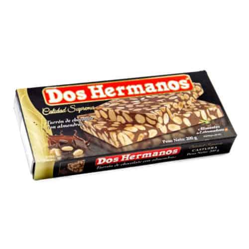 turrón de chocolate de almendras nougat mit schokolade und mandeln front