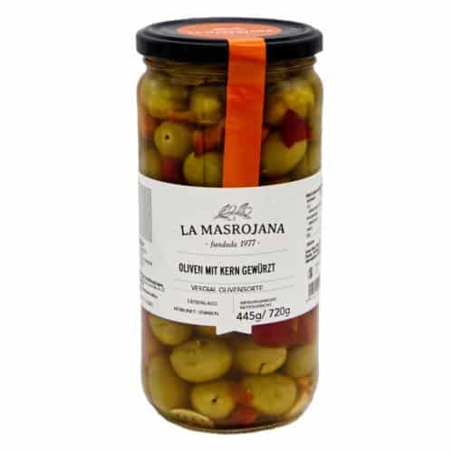 aceitunas con hueso aliñadas la masrojana salat oliven mit kernen 445g front