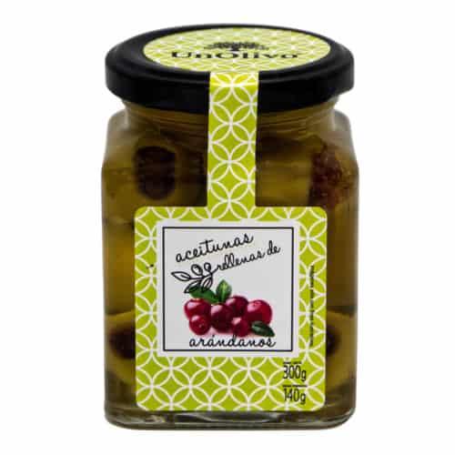 aceitunas gordal caramelizada rellenas de arándanos–unOlivo–mit karamellisierten preiselbeeren gefuellte gordal oliven 140g front
