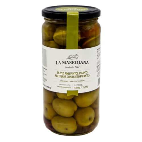 aceitunas gordal con hueso picantes la masrojana wuerzige gordal oliven mit kernen 430g front