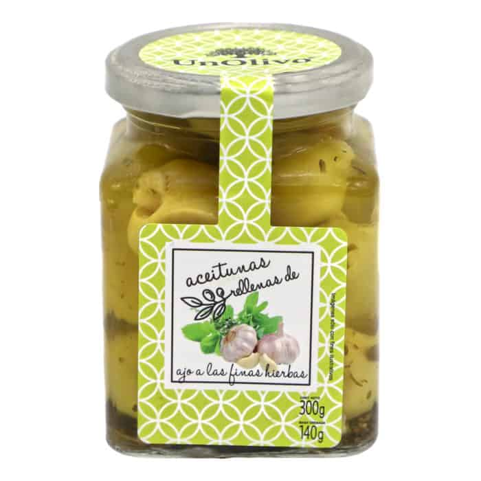 aceitunas gordal rellenas de ajo a las finas hierbas unolivo mit Knoblauch gefuellte gordal oliven mit feinen kraeutern 140g front