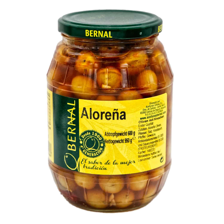 aloreña aceitunas bernal aloreña oliven mit kernen 600g front
