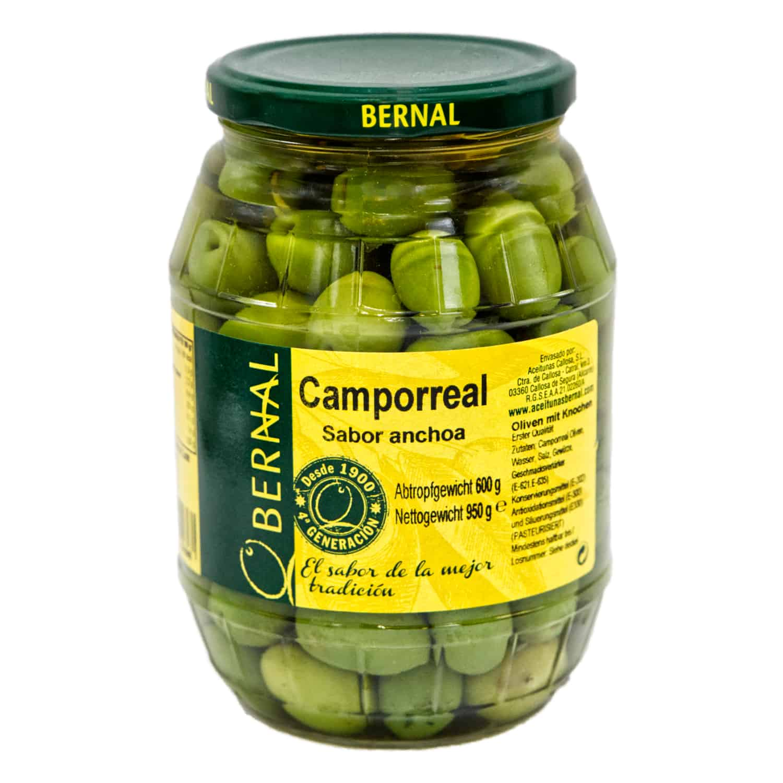 camporreal aceitunas sabor anchoa bernal camporreal oliven mit sardellengeschmack mit Kernen 600g front