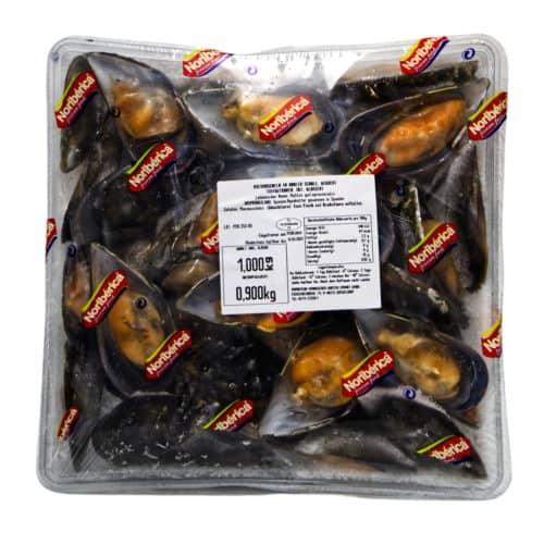 mejillones cocidos en la mitad de la concha noriberica miesmuscheln in halber schale gekocht 900g