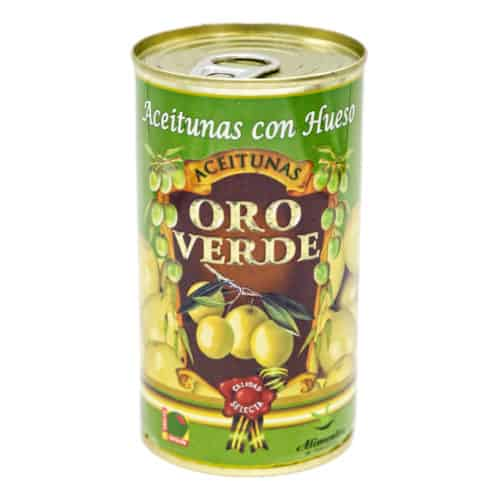 oro verde–aceitunas con hueso 150g–gruene oliven mit kernen front