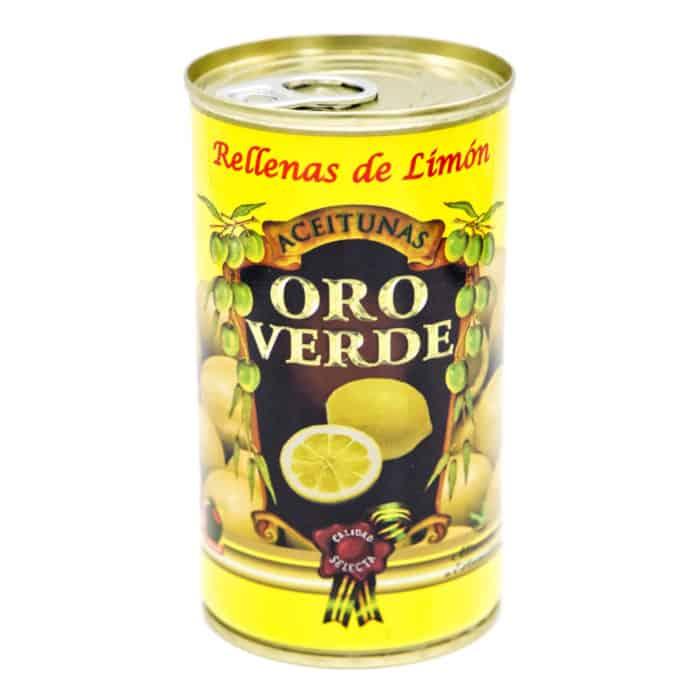 oro verde–rellenas de limón 150g–gruene oliven mit zitrone gefuellt front
