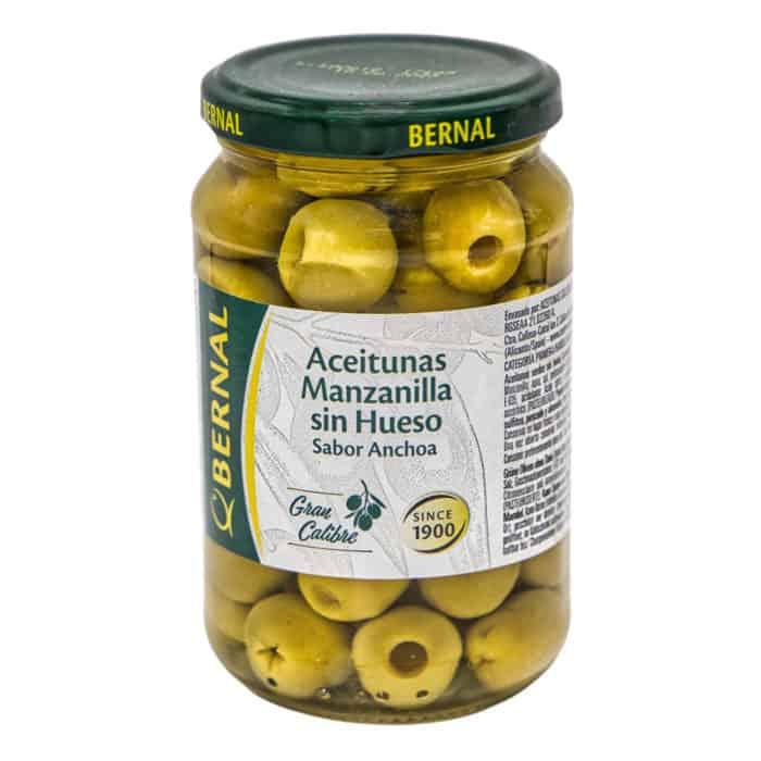 aceitunas manzanilla sin hueso sabor anchoa bernal manzanilla oliven ohne kerne mit sardellengeschmack 170g front