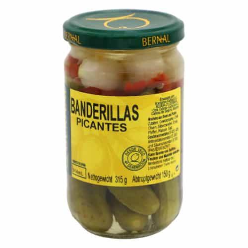 banderillas picantes bernal mischung aus eingelegten oliven und gurken 150g front