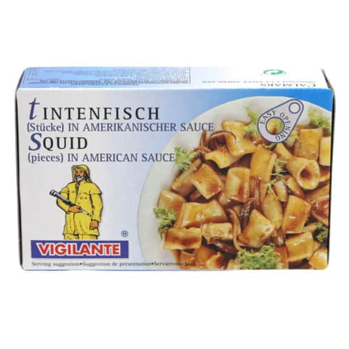calamares trozos en salsa americana 72g tintenfisch Stuecke in amerikanischer sauce front