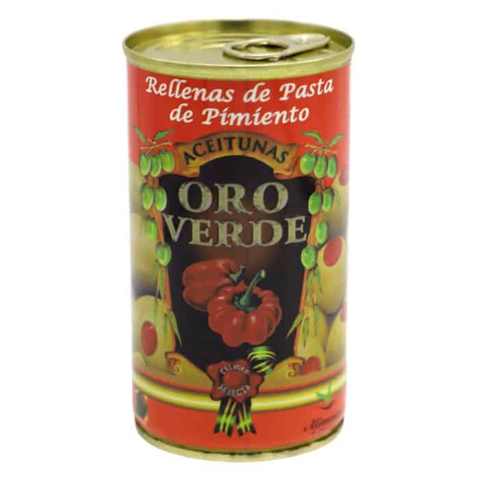 oro verde–rellenas de pasta de pimiento 150g–gruene oliven mit paprikapaste gefuellt front