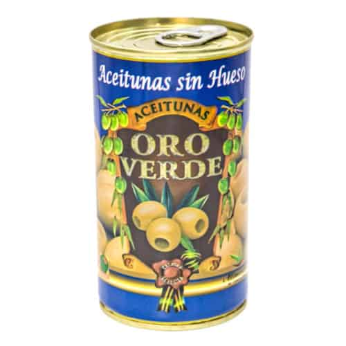 oro verde aceitunas sin hueso 150g gruene oliven ohne kernen front