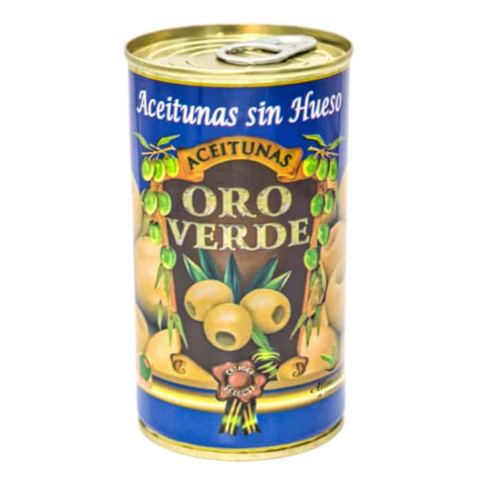 oro verde aceitunas sin hueso 150g gruene oliven ohne kernen front
