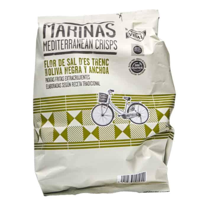 patatas fritas extracrujientes flor de sal des trenc sabor oliva negra y anchoa marinas mediterranean crisps chips extra knusprig geschmacksrichtung schwarze oliven und sardellen 150g front