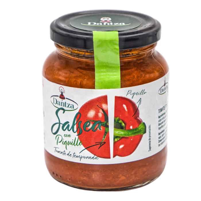 salsea con piquillo dantza tomatensauce mit paprikaschoten del piquillo 345g front