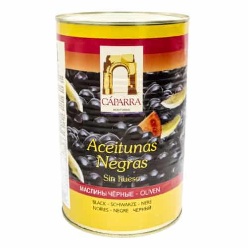 aceitunas negras sin hueso cáparra schwarze oliven ohne kerne 2kg front