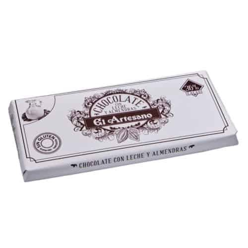 chocolate con leche y almendras el artesano 36 cacao 125g schokolade mit milch und mandeln mit 36 kakao front
