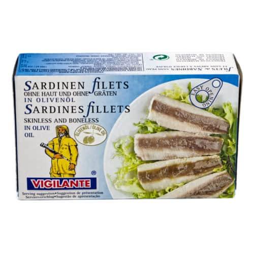 filetes de sardinas sin piel y sin espina en aceite de oliva vigilante sardinen filets ohne haut und ohne graeten in olivenoel 85g front