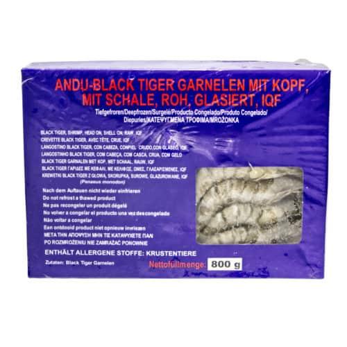 langostino black tiger con cabeza con piel crudo glaseo andu black tiger garnelen mit kopf mit schale roh glasiert 800g