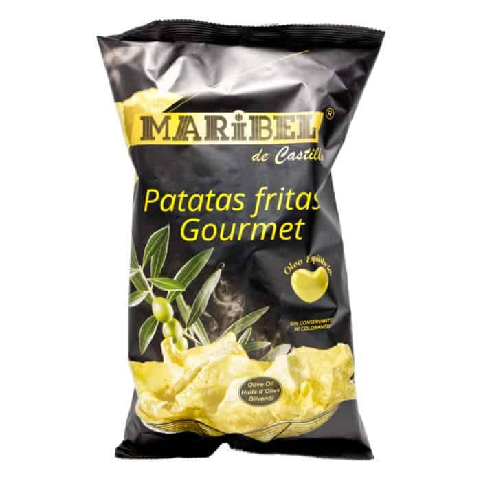 patatas fritas gourmet con aceite de oliva maribel de castillo gourmet kartoffelchips mit olivenoel 150g front