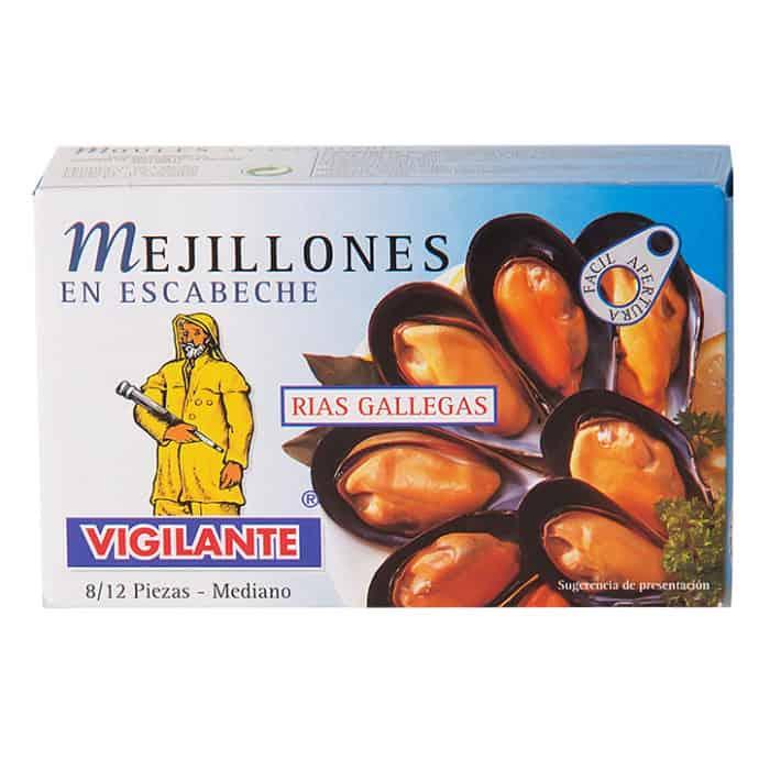 mejillones en escabeche vigilante pfahlmuscheln in marinade 70g front