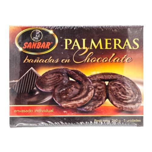palmeras banadas en chocolate sanbar in schokolade getauchte palmen 5 stueck 260g front